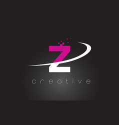 z creative letters design with white pink colors vector image