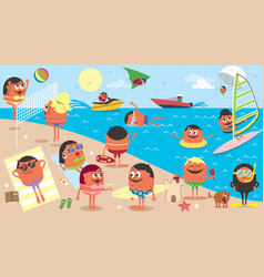 beach landscape cartoon vector image vector image