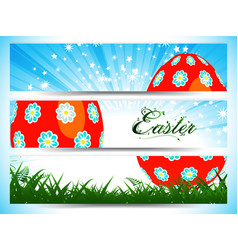 easter decorated egg panels with floral text vector image vector image