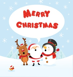 Santa Snowman and Reindeer Celebrating Christmas vector image vector image