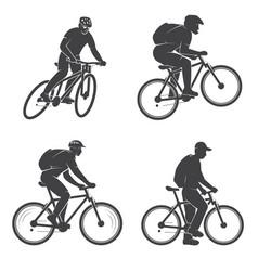 set of mens on the mountain bikings vector image