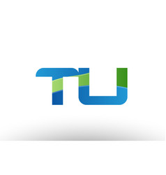 blue green tu t u alphabet letter logo vector image vector image