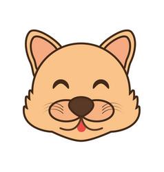 cute wolf face kawaii style vector image