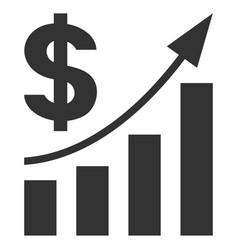 dollar bar chart trend flat icon vector image