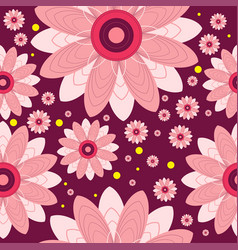 seamless pattern of flowers and circles vector image vector image