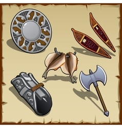 Vintage outfit of a medieval warrior five items vector image