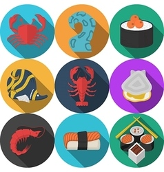 Colored seafood flat icons vector image vector image