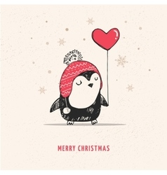 Cute hand drawn penguin with red heart balloon vector image vector image