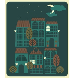 Night in a little town vector image vector image