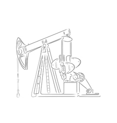 Outline of oil derrick vector image