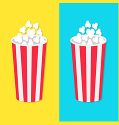popcorn round bucket box set movie cinema icon in vector image