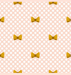 tile pattern with golden bows on a pastel pink vector image vector image