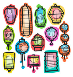 asian holiday hand drawn doodle paper lanterns vector image