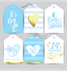 blue sticker set it s a girl calligraphy vector image vector image