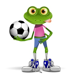 Frog soccer player vector image vector image
