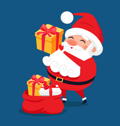 merry santa claus put presents into red bag vector image