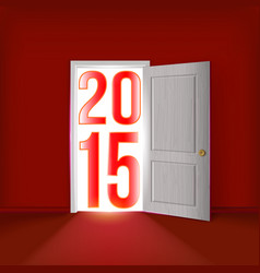 Open door to new year vector