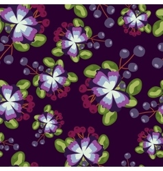 pattern with blue flowers berries and leaves on vector image vector image