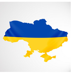 ukraine flag in form of map ukraine national vector image vector image