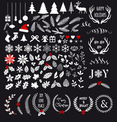 White Christmas design elements vector image vector image