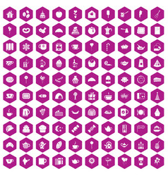 100 tea party icons hexagon violet vector image