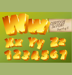3d gold font in cartoon style comic yellow vector image