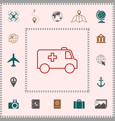 ambulance line icon elements for your design vector image