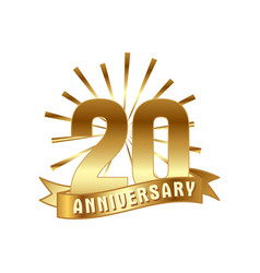 anniversary golden twenty years number vector image
