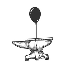 anvil flying balloon sketch engraving vector image