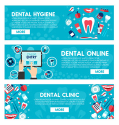 Banners of dental medicine and dentistry vector