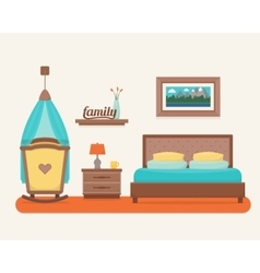 Bedroom with bed and cot vector image