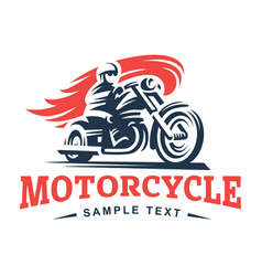 Biker fire motorcycle emblem and label vector