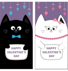 Black White Cat couple with bow Flyer poster set vector image
