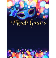 Bright Mardi Gras poster template with bokeh vector image