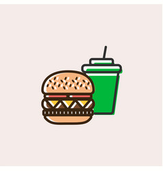 burger and soft drink icon vector image
