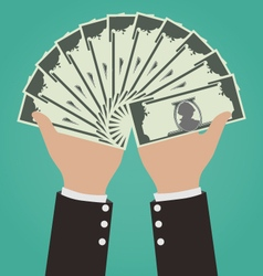 Businessman Hands Giving Money Financial Concept vector image