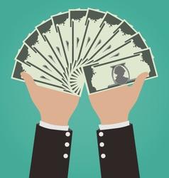 Businessman Hands Giving Money Financial Concept vector
