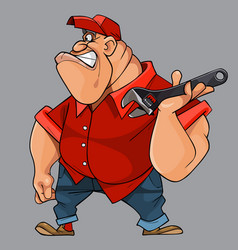 cartoon angry big man with a key tool in his hand vector image