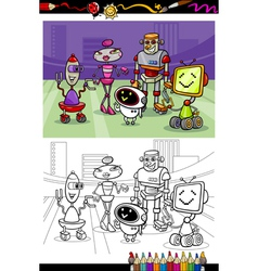 cartoon robots group coloring book vector image