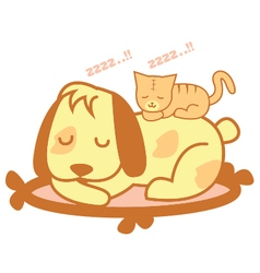 Cat and Dog Sleep vector