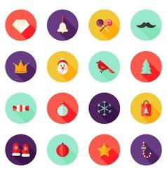 Christmas Circle Flat Icons Set 1 vector image