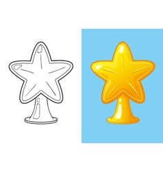 Coloring Book Of Christmas Gold Star For Tree vector