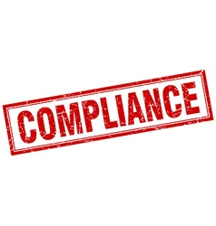 Compliance red square grunge stamp on white vector