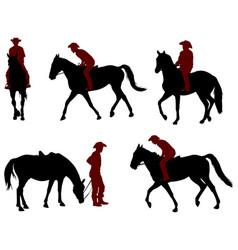 cowboy riding a horse silhouettes vector image