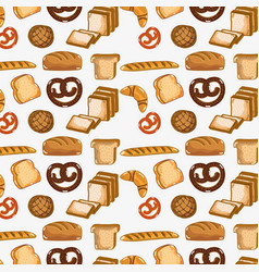 Delicious types of breads background vector
