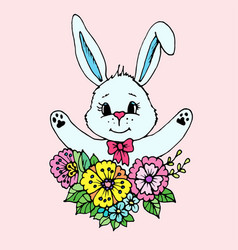doodle cute rabbit in flowers and colour vector image