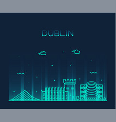 dublin skyline ireland linear style city vector image