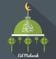 Eid mubarak flat design card vector