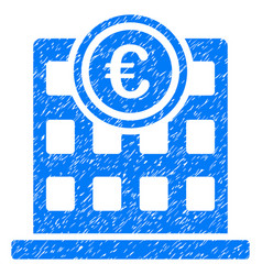 Euro company building grunge icon vector