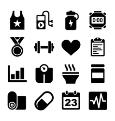 Fitness and Health Icons Set vector image